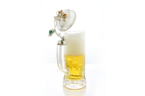 365€ - Caneca de cerveja com tampa de prata, quartzo verde e grandel