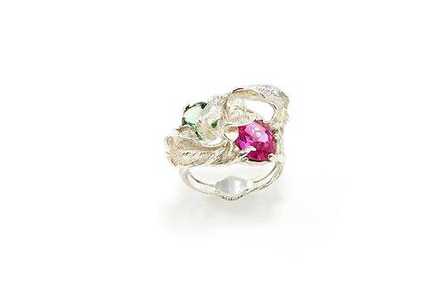 220€ - Anel de prata com turmalinas verde e rosa