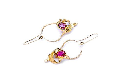 1894€ - Brincos de ouro com turmalinas rosas naturais