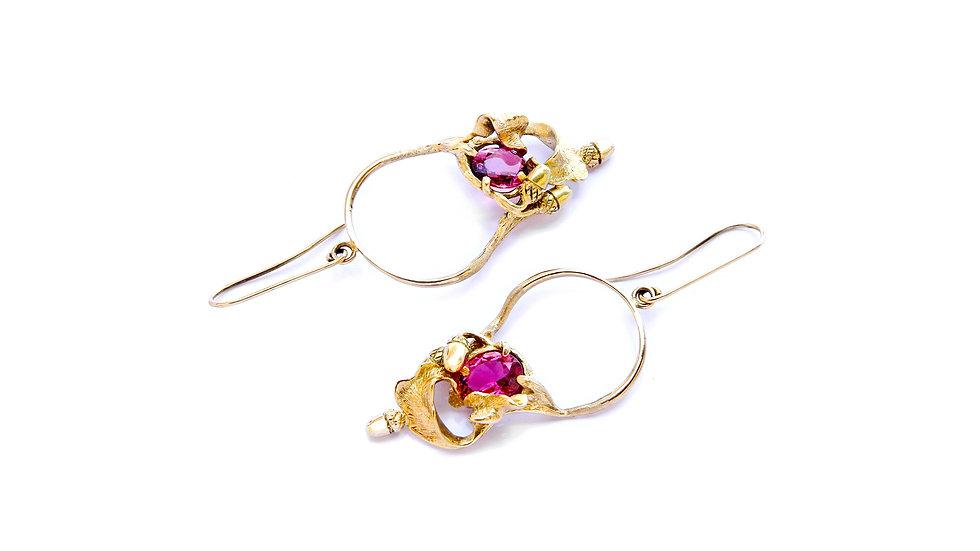 1894€ - Brincos de ouro 18K com turmalinas rosas naturais