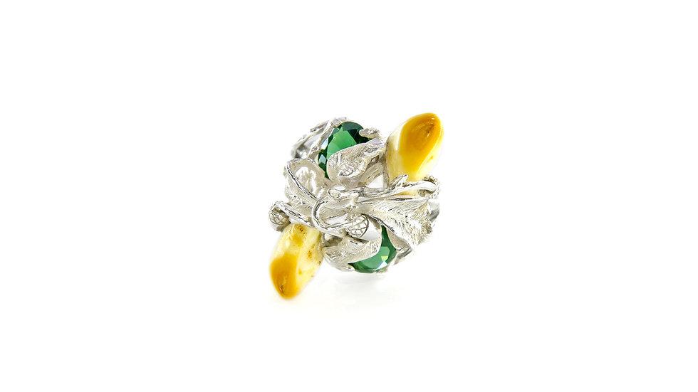 250€ - Anel de prata com turmalinas verdes e grandel