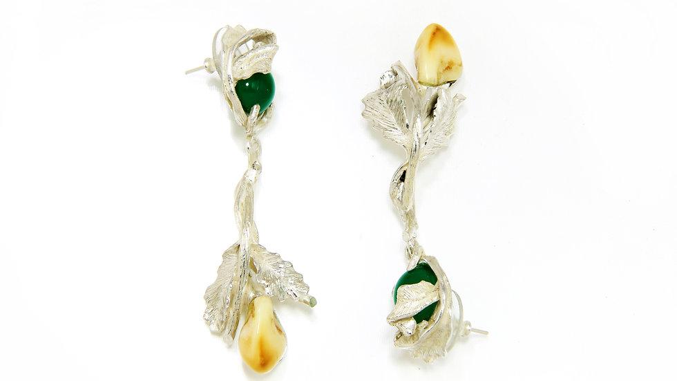 260€ -  Brincos de prata com quartzo verde e grandel