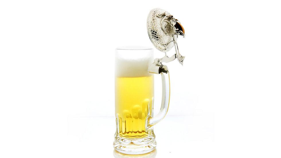 350€ - Caneca de cerveja com tampa de prata e olho de tigre