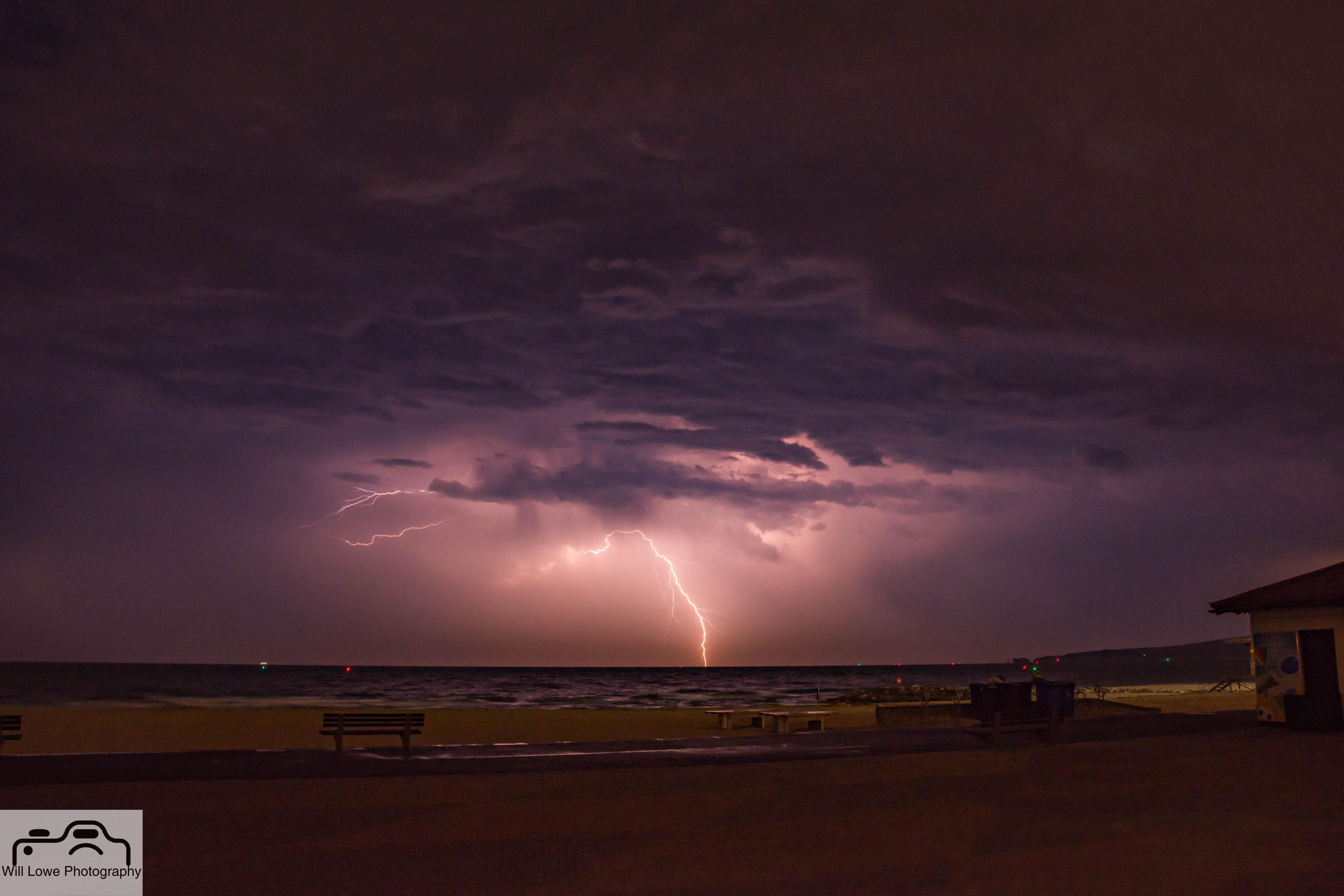 Lightning over Bournemouth Bay