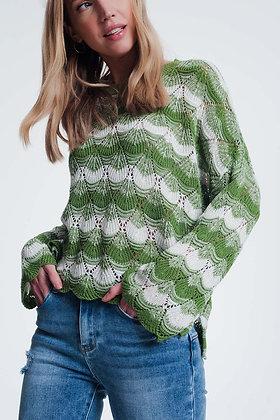 Green Striped Knit Sweater