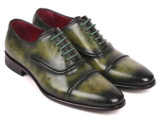 Paul Parkman Men's Cap-Toe Oxfords Green (ID#077-GRN)