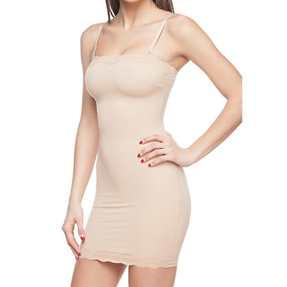 Full Body Slip Shaper With Lace Trim Nude