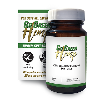 GoGreen Hemp CBD Soft Gel Capsules 25mg (750mg)