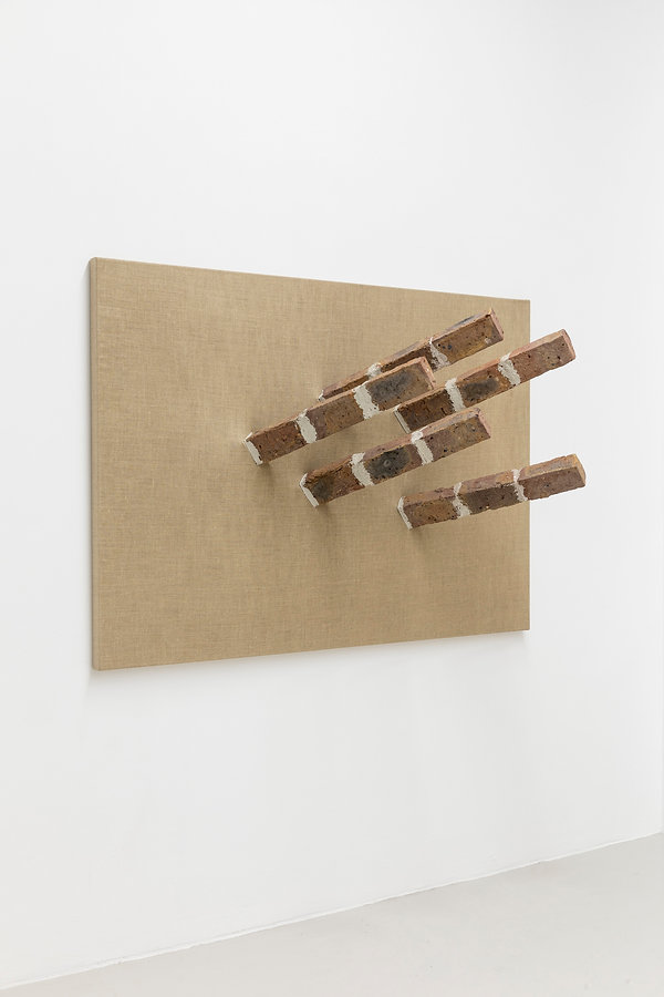 Georg Herold HURRA 2005, Bricks on Canva