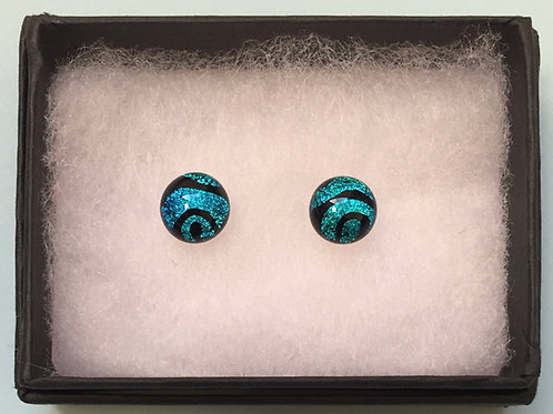 Blue Swirl Dichroic Glass Studs