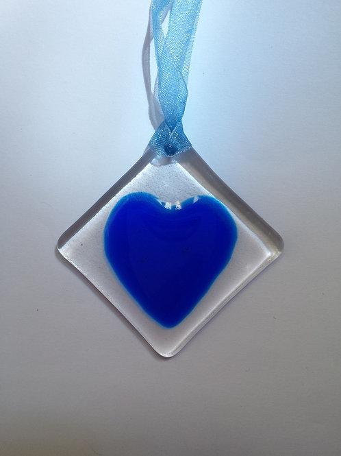 Dark Blue Glass Heart