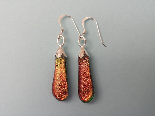 Orange/Red Dichroic Glass Drop Earrings