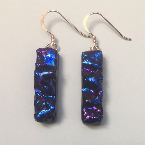 Blue Textured Dichroic Glass Earrings