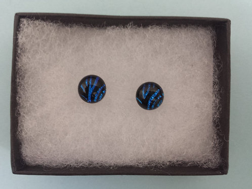 Blue Line Dichroic Glass Stud Earrings