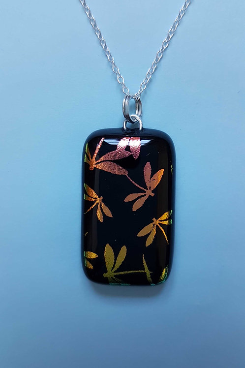 Dichroic Glass Dragonfly Pendant