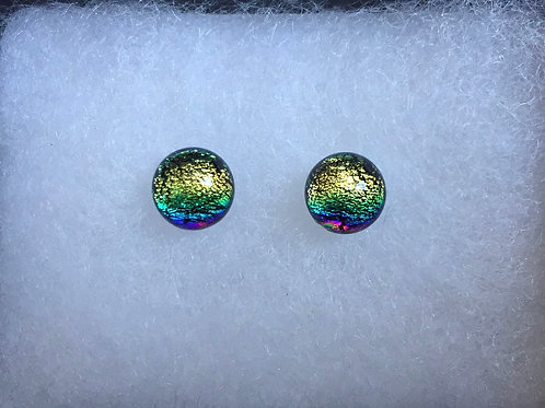 Gold and Turquoise Dichroic Glass Stud Earrings