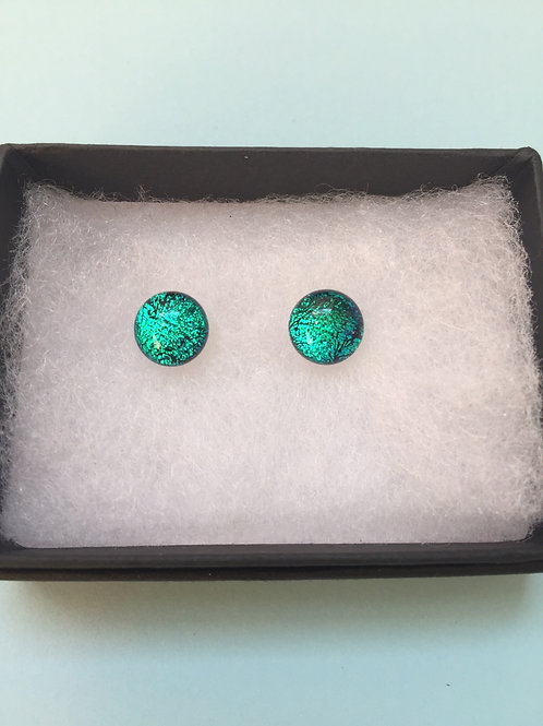 Turquoise Dichroic Glass Stud Earrings