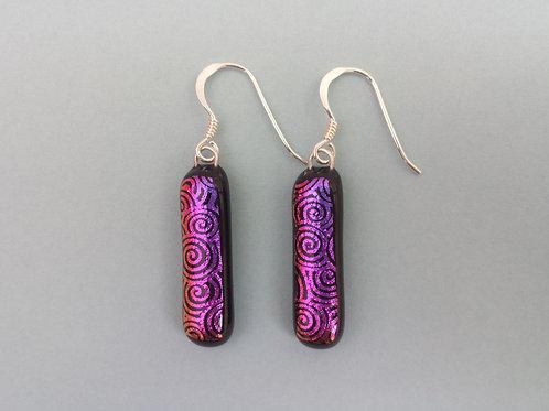 Purple Swirl Dichroic Glass Earrings