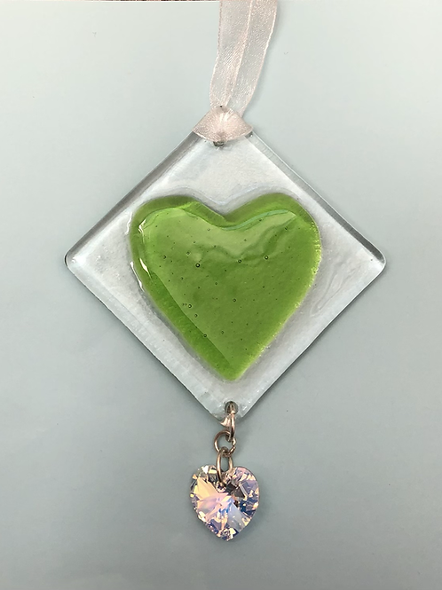 Lime Green Glass Heart with Austrian Crystal