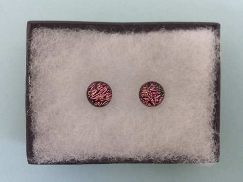 Pink Dichroic Glass Stud Earrings