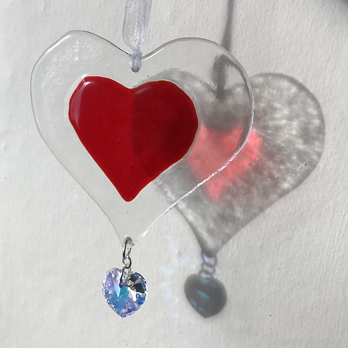 Red Glass Heart with Austrian Crystal