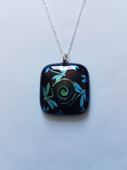 Dichroic Glass Dragonfly with Swirl Pendant