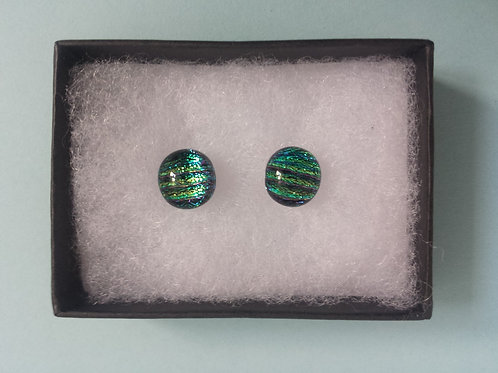 Green/Turquoise Dichroic Glass Stud Earrings