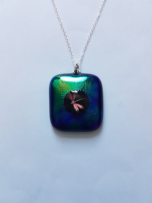 Multicoloured Dichroic Glass Pendant with Dragonfly