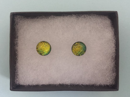 Gold Dichroic Glass Stud Earrings