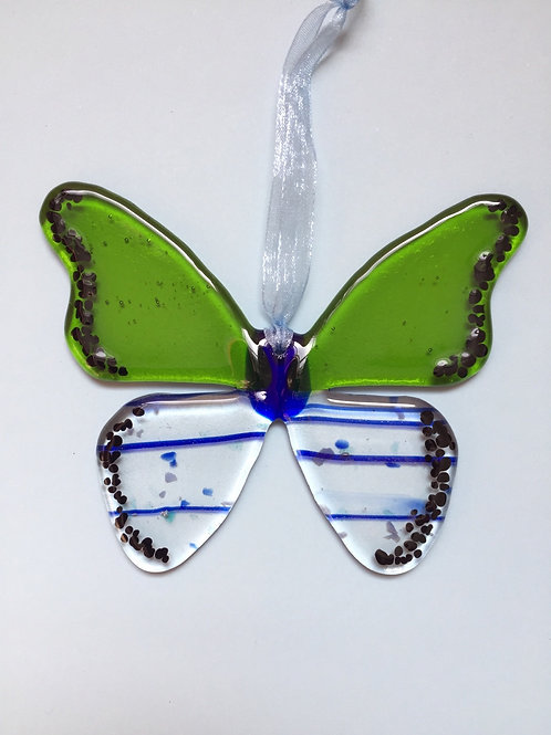 Lime and Blue Glass Butterfly
