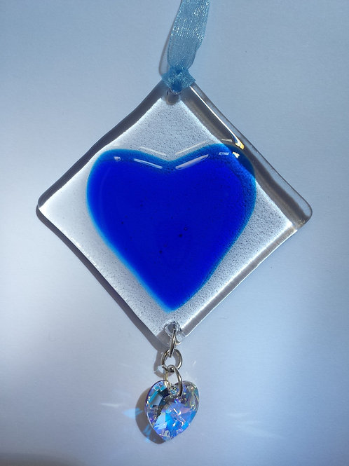 Blue Glass Heart with Austrian Crystal