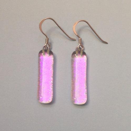 Pink Dichroic Glass Earrings