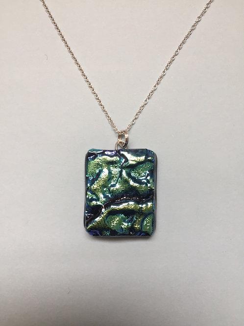 Textured Turquoise Dichroic Glass Pendant