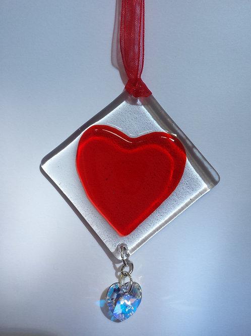 Red Glass Heart with Swarovski Crystal