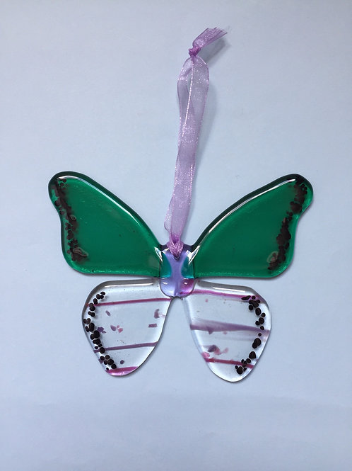 Green and Pink Stripes on Clear Glass Butterfly
