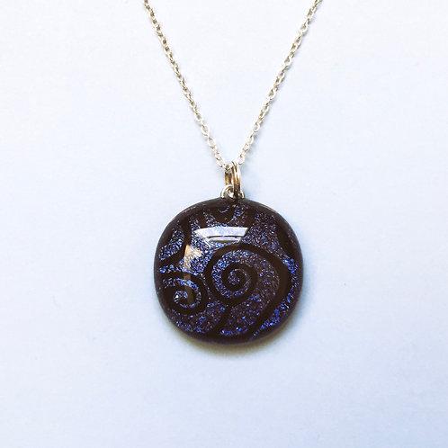 Purple Round Dichroic Glass Pendant
