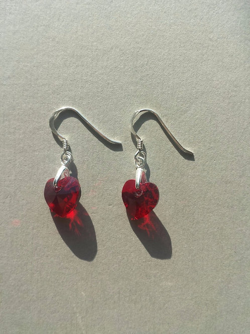 Dark Red Swarovski Earrings