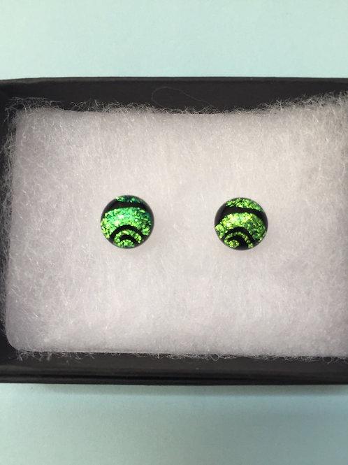 Green Dichroic Glass Stud Earrings