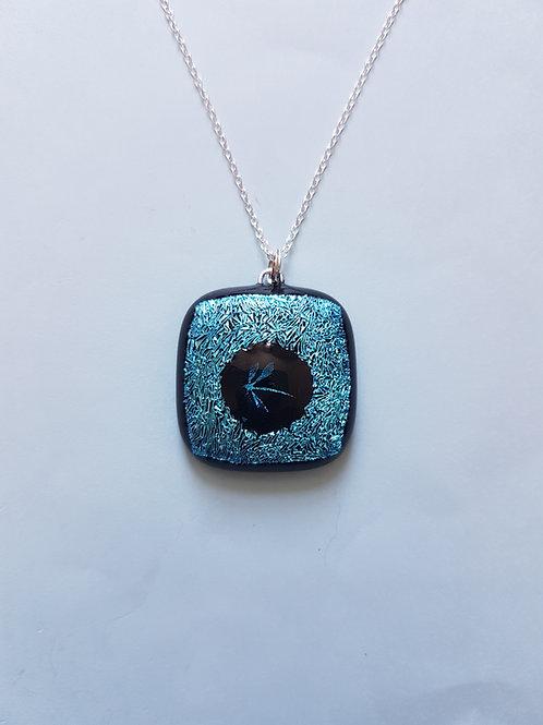 Silvery Blue Dichroic Glass Pendant