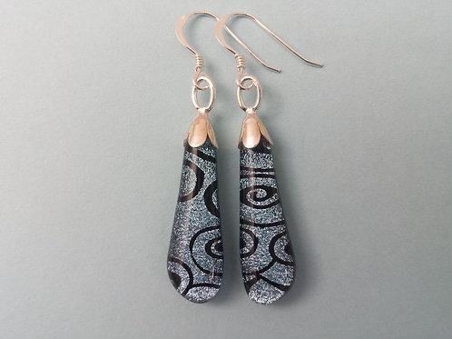 Silver Swirl Dichroic Glass Drop Earrings