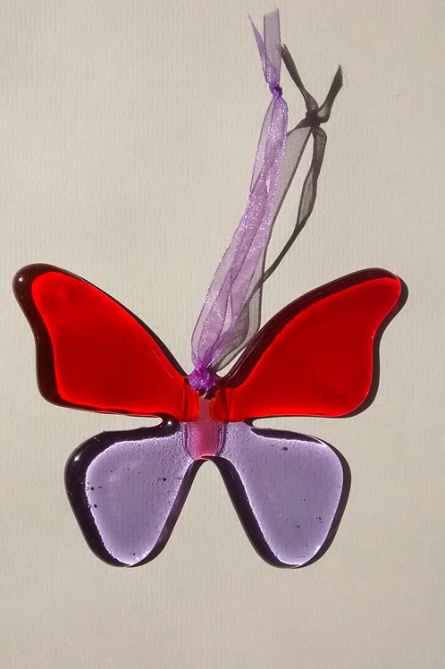 Red and Lavender Glass Butterfly
