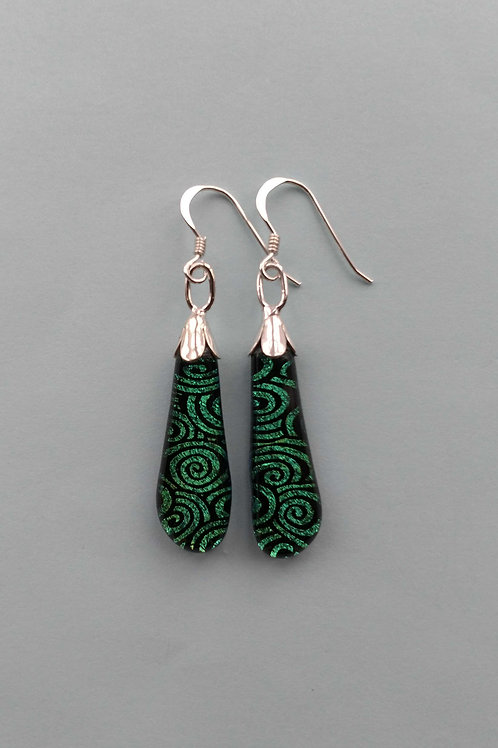 Green Swirl Dichroic Glass Drop Earrings