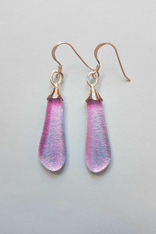 Pink Dichroic Glass Drop Earrings