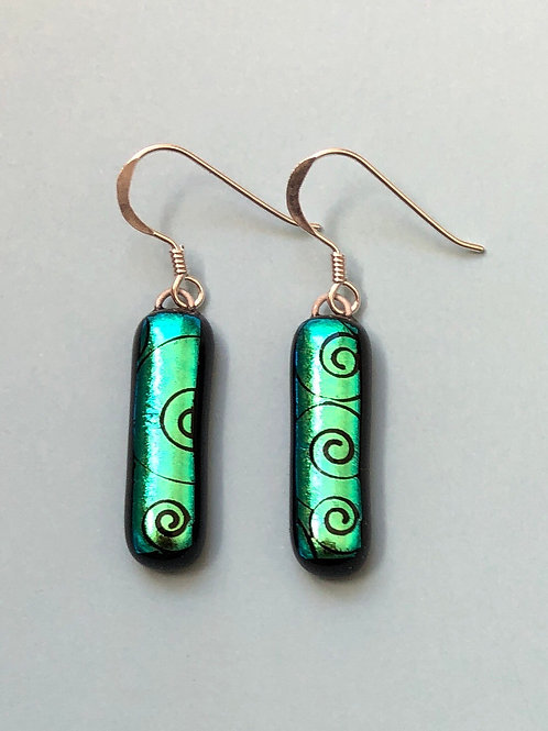Green Swirl Dichroic Glass Earrings