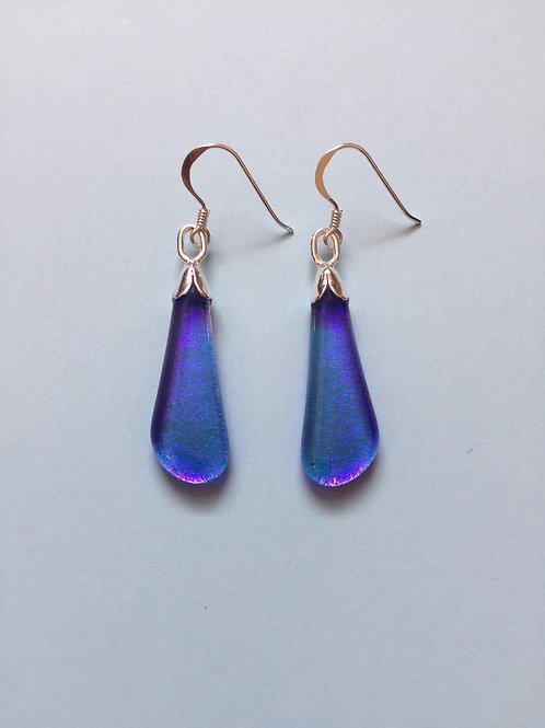 Light Purple/Blue Dichroic Glass Drop Earrings