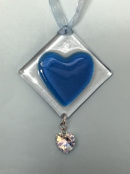 Blue Glass Heart with Austrian Crystal