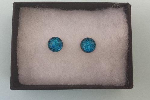 Blue Dichroic Glass Stud Earrings