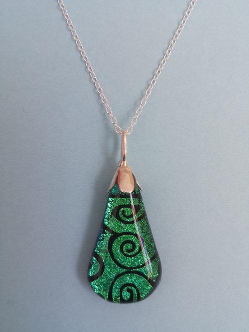 Green Swirl Dichroic Glass Pendants