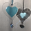 Thumbnail: Turquoise Glass Heart with Austrian Crystal