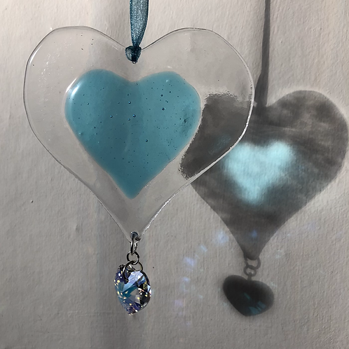 Turquoise Glass Heart with Austrian Crystal